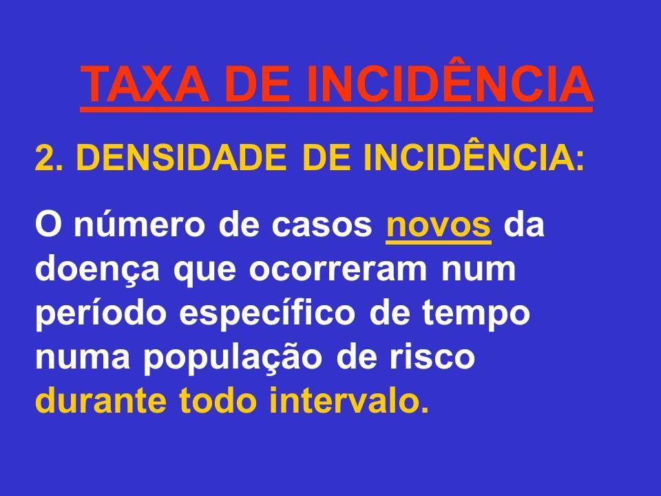 TAXA DE INCIDÊNCIA 2. DENSIDADE DE INCIDÊNCIA: O número de casos novos da doença que ocorreram num período específico de tempo numa população de risco