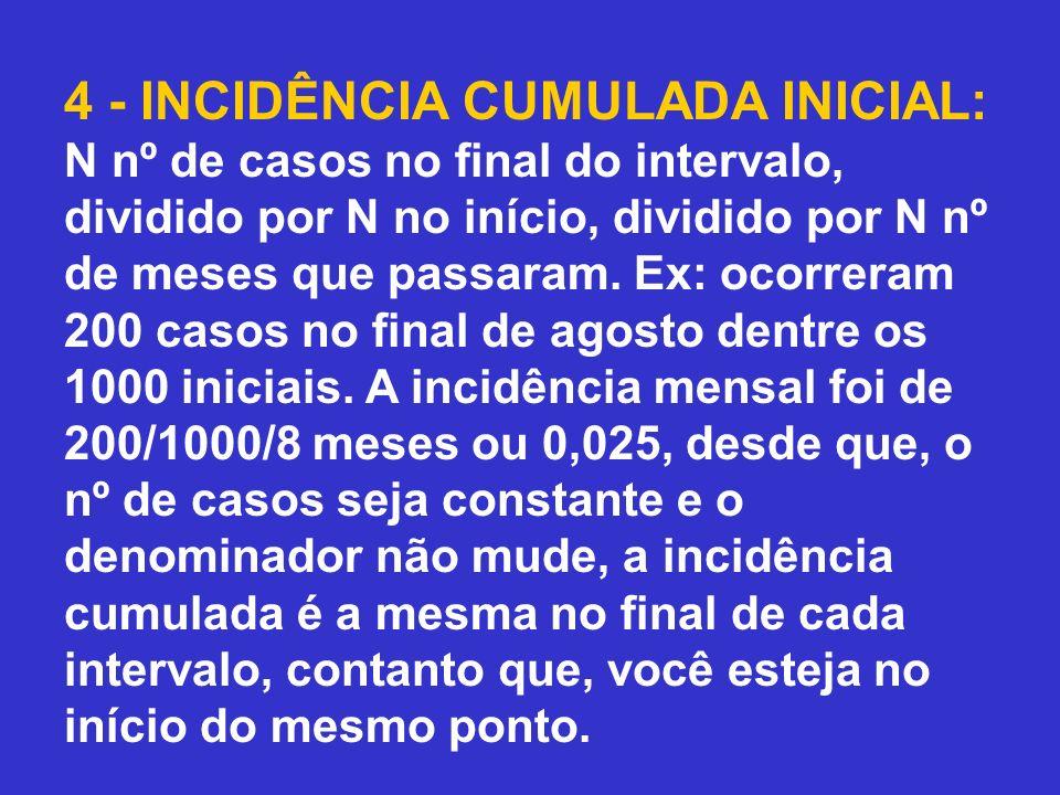 4 - INCIDÊNCIA CUMULADA INICIAL: N nº de casos no final do intervalo, dividido por N no início, dividido por N nº de meses que passaram. Ex: ocorreram