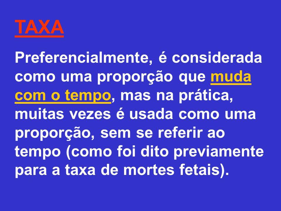 TAXA Preferencialmente, é considerada como uma proporção que muda com o tempo, mas na prática, muitas vezes é usada como uma proporção, sem se referir