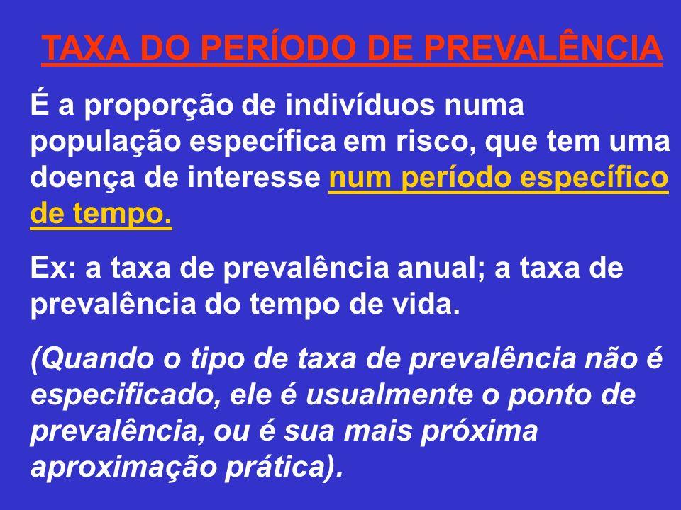 TAXA DO PERÍODO DE PREVALÊNCIA É a proporção de indivíduos numa população específica em risco, que tem uma doença de interesse num período específico