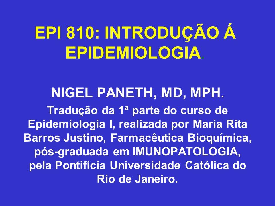 EPI 810: INTRODUÇÃO Á EPIDEMIOLOGIA. NIGEL PANETH, MD, MPH. Tradução da 1ª parte do curso de Epidemiologia I, realizada por Maria Rita Barros Justino,