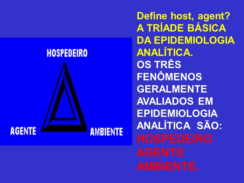 Define host, agent? A TRÍADE BÁSICA DA EPIDEMIOLOGIA ANALÍTICA. OS TRÊS FENÔMENOS GERALMENTE AVALIADOS EM EPIDEMIOLOGIA ANALÍTICA SÃO: HOSPEDEIRO AGEN