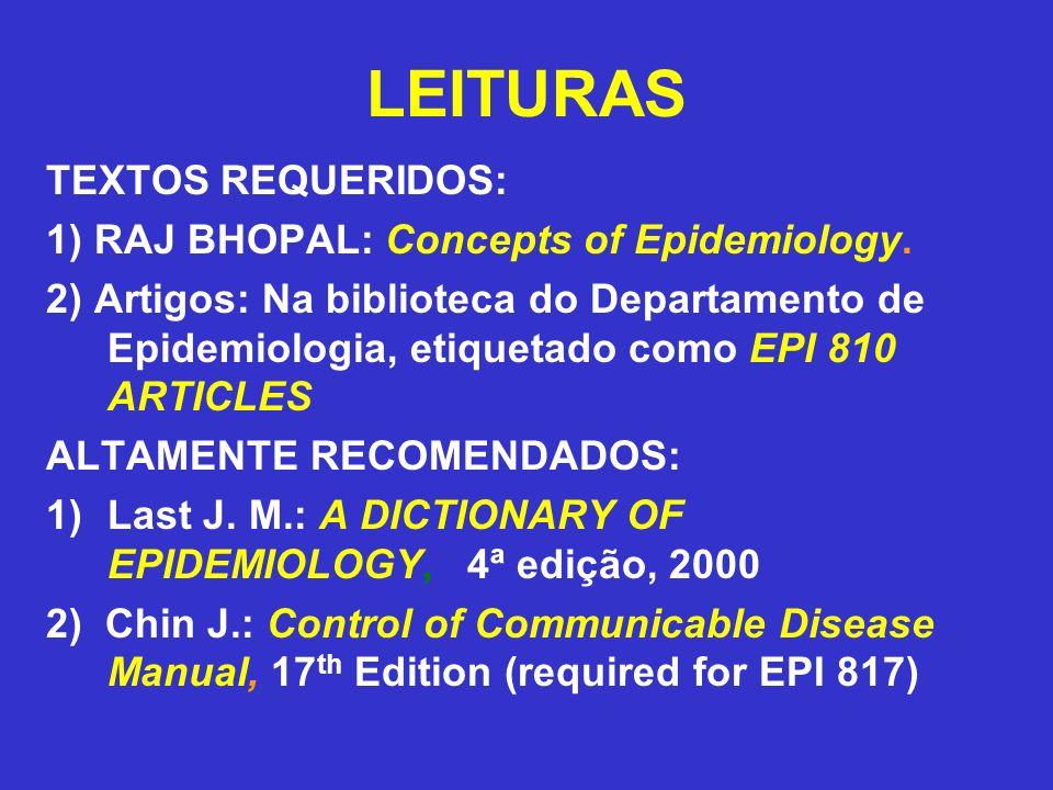 LEITURAS TEXTOS REQUERIDOS: 1) RAJ BHOPAL: Concepts of Epidemiology. 2) Artigos: Na biblioteca do Departamento de Epidemiologia, etiquetado como EPI 8