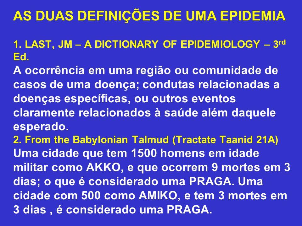 AS DUAS DEFINIÇÕES DE UMA EPIDEMIA 1. LAST, JM – A DICTIONARY OF EPIDEMIOLOGY – 3 rd Ed. A ocorrência em uma região ou comunidade de casos de uma doen