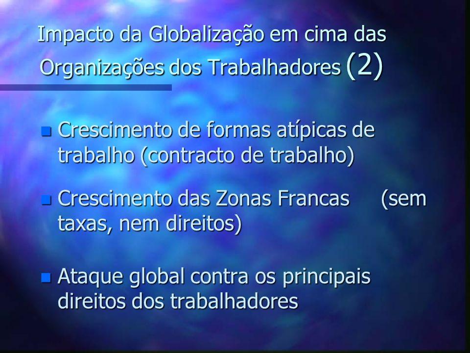 Impacto da Globalização em cima das Organizações dos Trabalhadores (1) n Diminuição da densidade dos sindicatos n De acordos/negociações nacionais par