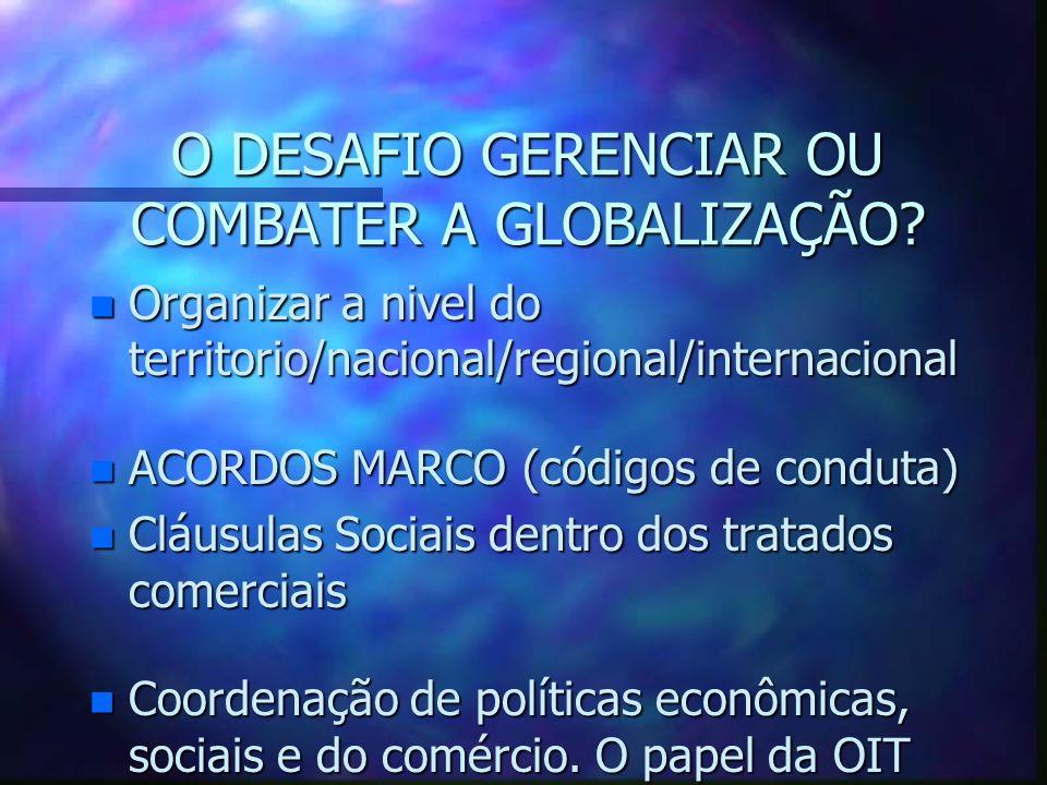 Impacto da Globalização em cima das Organizações dos Trabalhadores (2) n Crescimento de formas atípicas de trabalho (contracto de trabalho) n Crescime