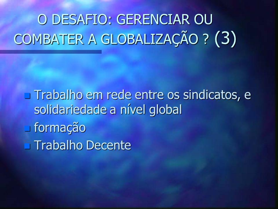O DESAFIO: GERENCIAR OU COMBATER A GLOBALIZAÇÃO? (2) n Globalização dos direitos dos trabalhadores: a Declaração da OIT n NIT