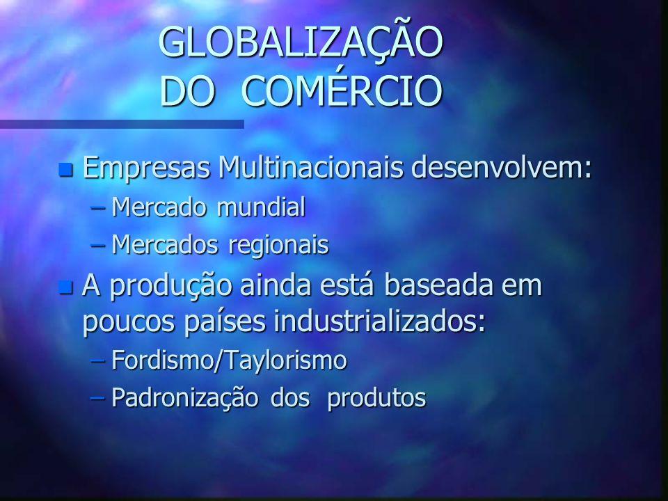 GLOBALIZAÇÃO DE: n Comércio n Produção n Finança