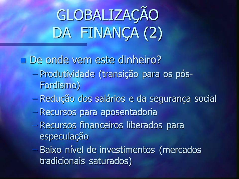 GLOBALIZAÇÃO DA FINANÇA (1) n Decisão política para liberalizar a circulação de capitais n Criação de uma rede financeira global n Transações diárias: