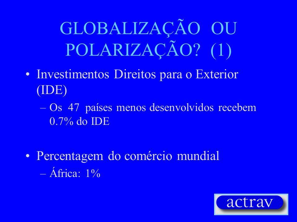 OS DEMAIS FACTORES DA GLOBALIZAÇÃO (2) Privatização de empresas públicas / privatização da segurança social Crises financeiras e redução de medidas de
