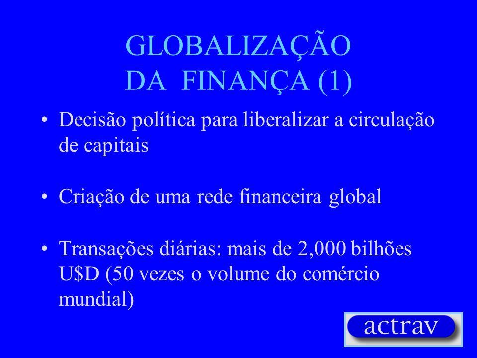 GLOBALIZAÇÃO DA PRODUÇÃO (2) 40,000 Empresas Multinacionais As primeiras 100 Multinacionais controlam 1/3 do Investimento Direito para o Exterior As p