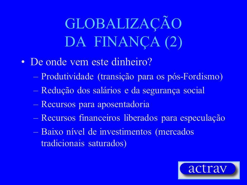 GLOBALIZAÇÃO DA FINANÇA (1) Decisão política para liberalizar a circulação de capitais Criação de uma rede financeira global Transações diárias: mais