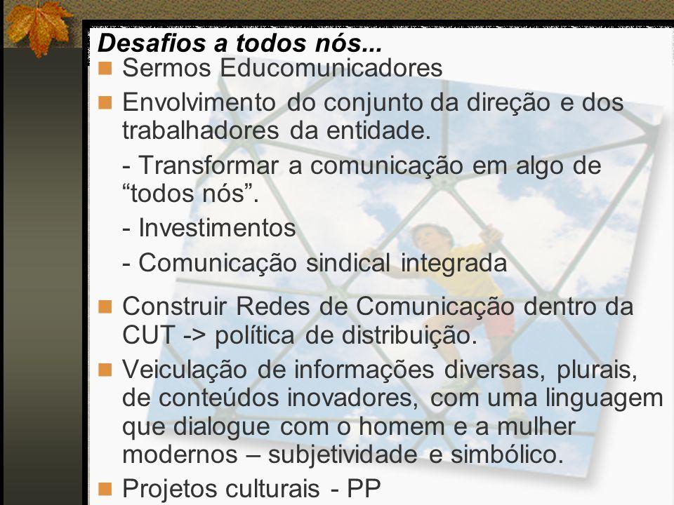 Sermos Educomunicadores Envolvimento do conjunto da direção e dos trabalhadores da entidade. - Transformar a comunicação em algo de todos nós. - Inves