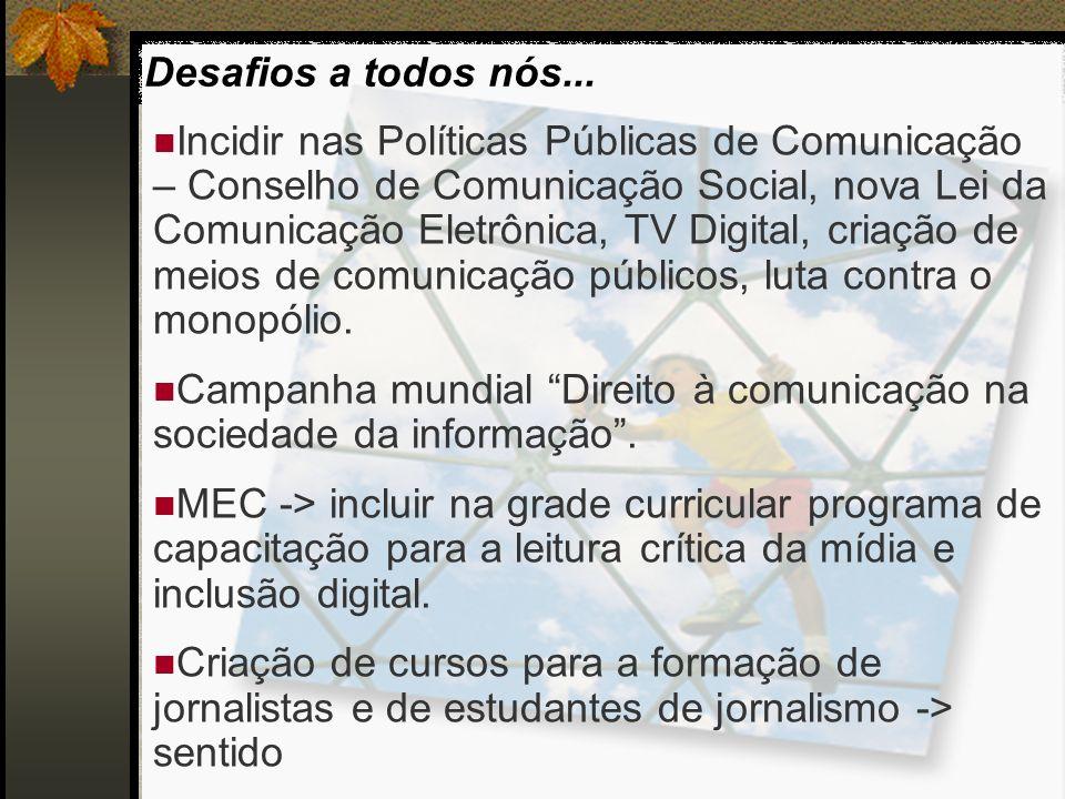 Incidir nas Políticas Públicas de Comunicação – Conselho de Comunicação Social, nova Lei da Comunicação Eletrônica, TV Digital, criação de meios de co
