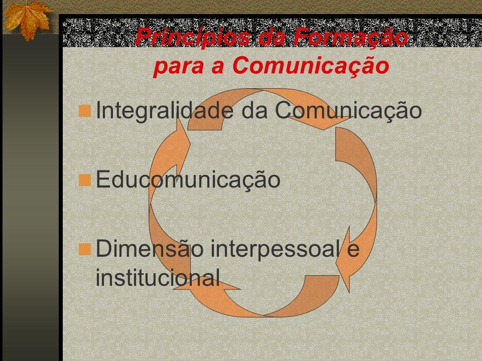 Princípios da Formação para a Comunicação Integralidade da Comunicação Educomunicação Dimensão interpessoal e institucional