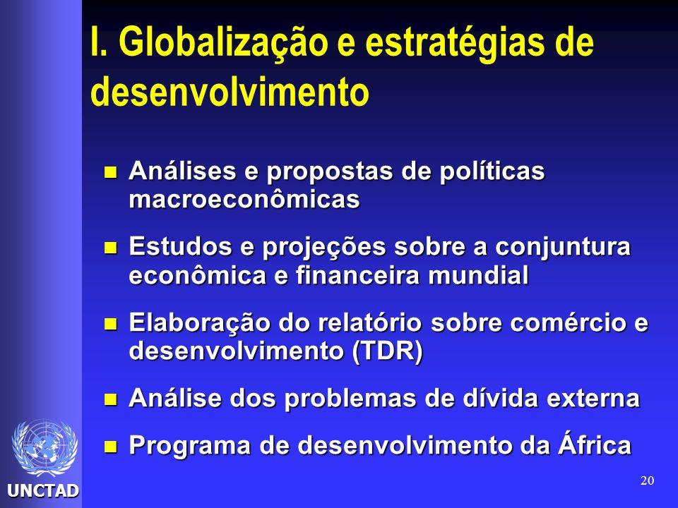 UNCTAD 20 I. Globalização e estratégias de desenvolvimento Análises e propostas de políticas macroeconômicas Análises e propostas de políticas macroec