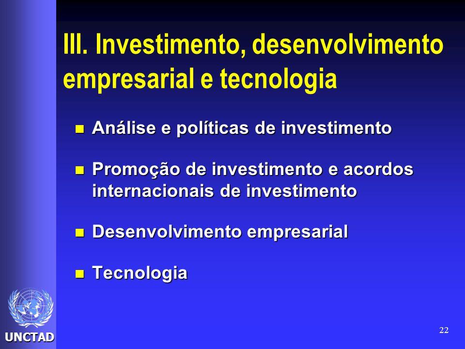 UNCTAD 22 III. Investimento, desenvolvimento empresarial e tecnologia Análise e políticas de investimento Análise e políticas de investimento Promoção