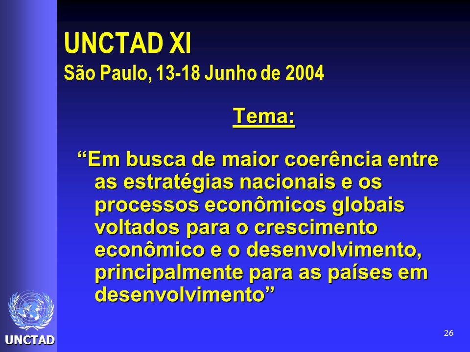 UNCTAD 26 UNCTAD XI São Paulo, 13-18 Junho de 2004 Tema: Em busca de maior coerência entre as estratégias nacionais e os processos econômicos globais