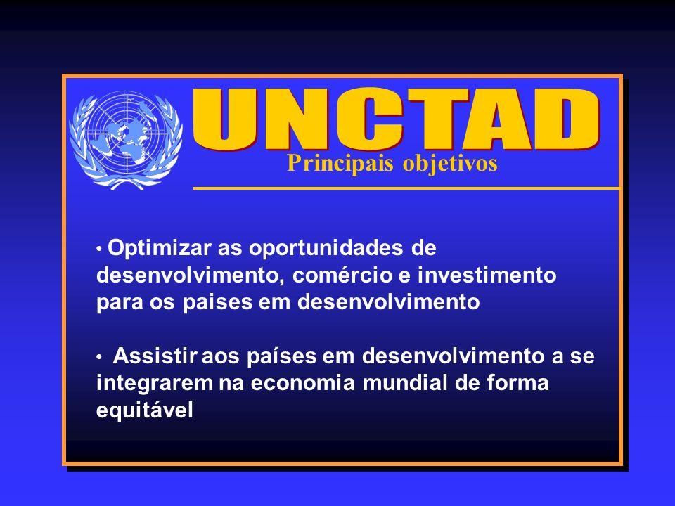 Principais objetivos Optimizar as oportunidades de desenvolvimento, comércio e investimento para os paises em desenvolvimento Assistir aos países em d
