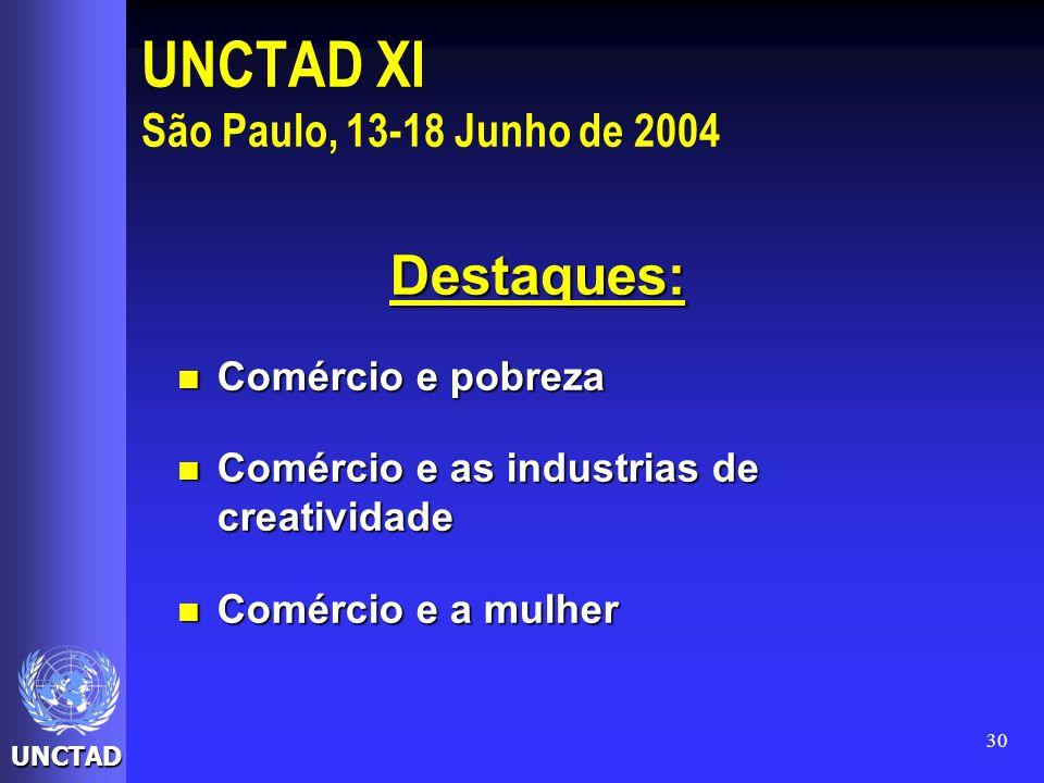 UNCTAD 30 UNCTAD XI São Paulo, 13-18 Junho de 2004 Destaques: Comércio e pobreza Comércio e pobreza Comércio e as industrias de creatividade Comércio