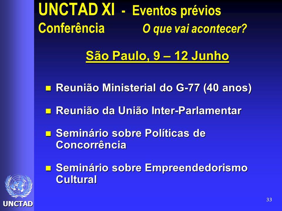 UNCTAD 33 UNCTAD XI - Eventos prévios Conferência O que vai acontecer? São Paulo, 9 – 12 Junho Reunião Ministerial do G-77 (40 anos) Reunião Ministeri