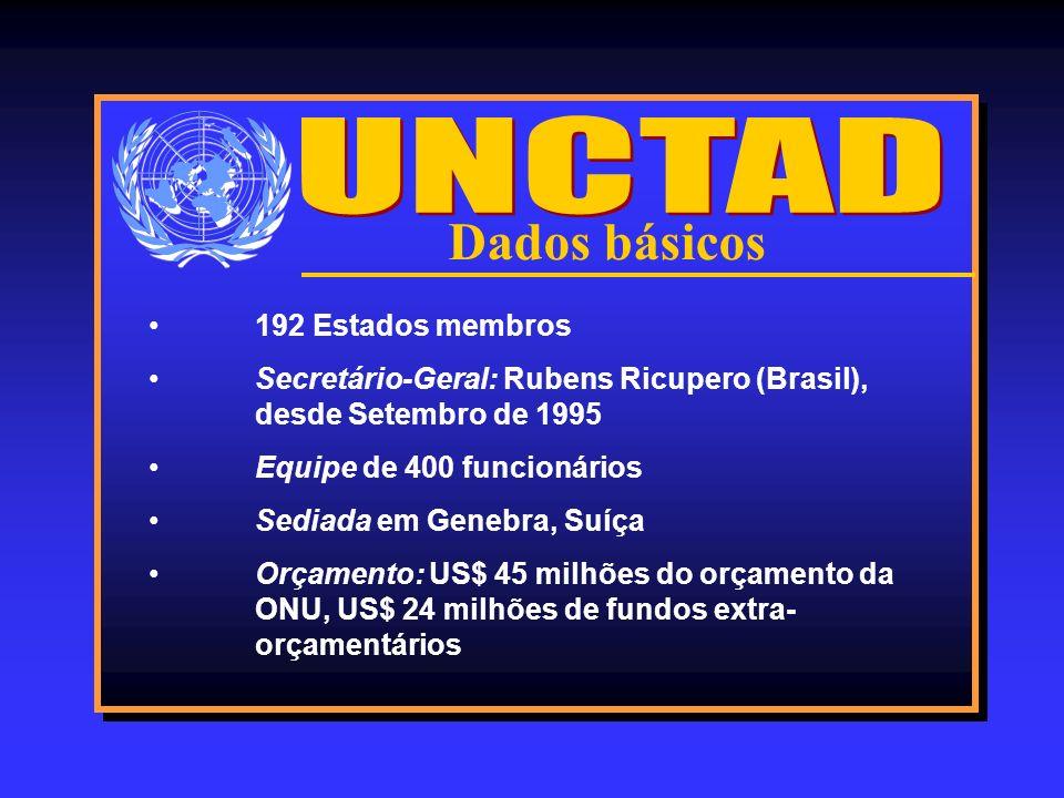 Dados básicos 192 Estados membros Secretário-Geral: Rubens Ricupero (Brasil), desde Setembro de 1995 Equipe de 400 funcionários Sediada em Genebra, Su