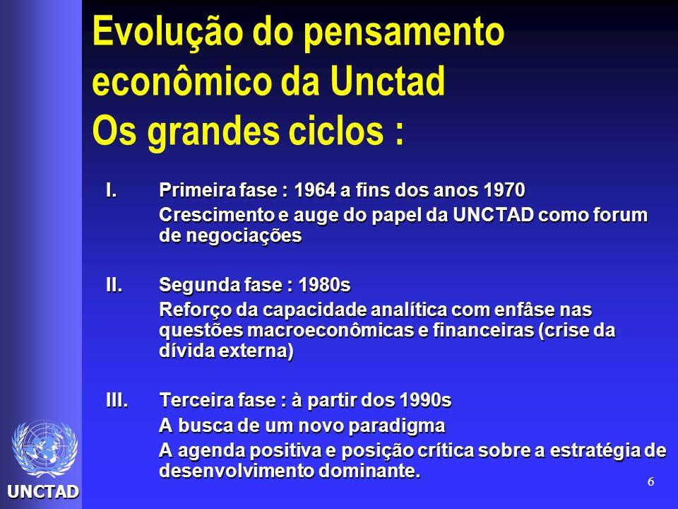 UNCTAD 6 Evolução do pensamento econômico da Unctad Os grandes ciclos : I.Primeira fase : 1964 a fins dos anos 1970 Crescimento e auge do papel da UNC