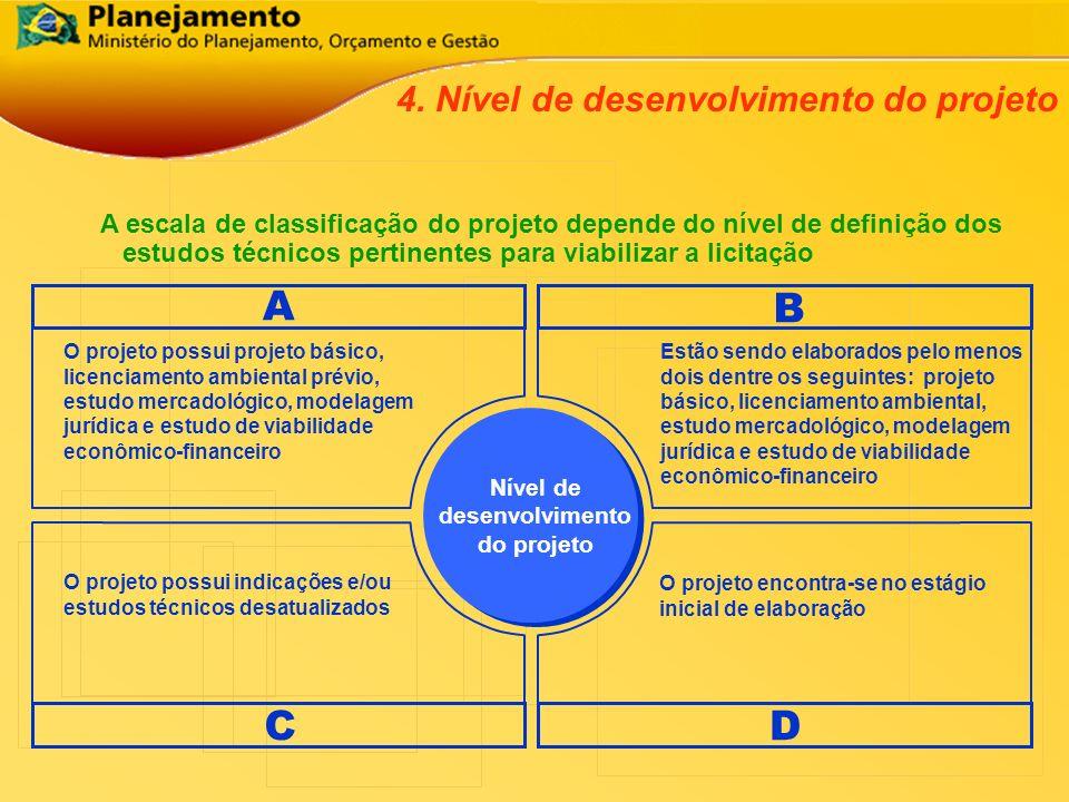 A escala de classificação do projeto depende do nível de definição dos estudos técnicos pertinentes para viabilizar a licitação 4. Nível de desenvolvi