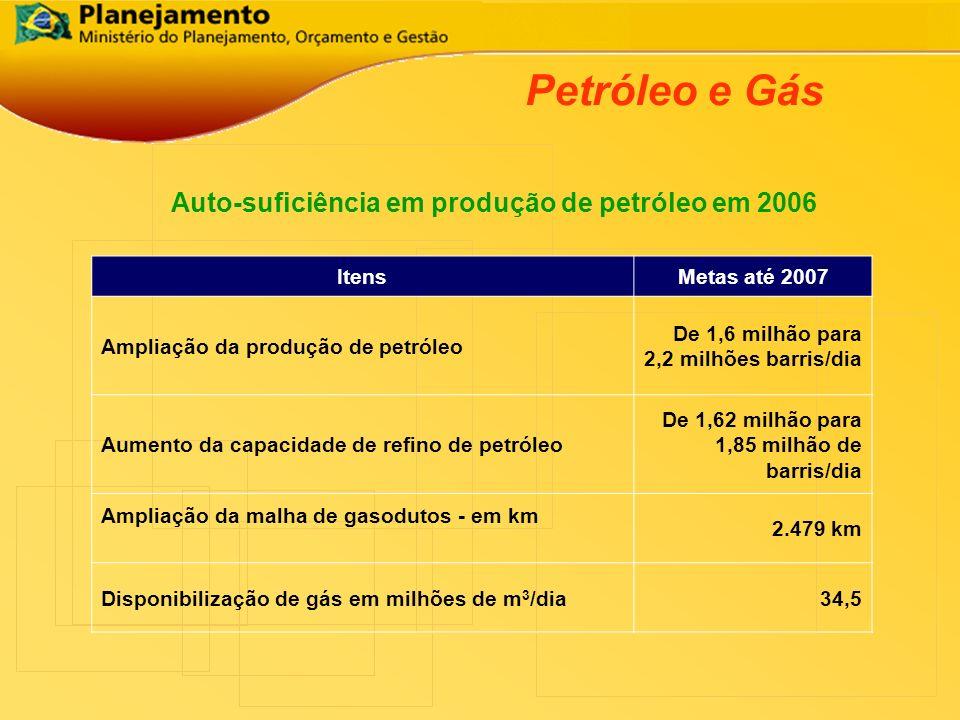 Petróleo e Gás Auto-suficiência em produção de petróleo em 2006 ItensMetas até 2007 Ampliação da produção de petróleo De 1,6 milhão para 2,2 milhões b