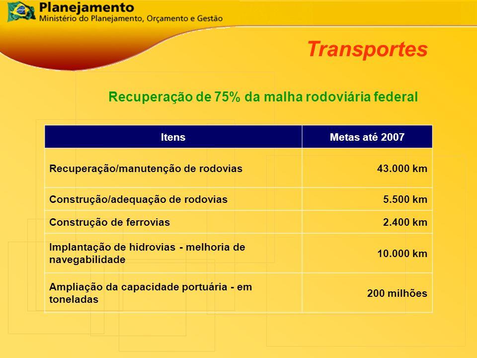 Transportes Recuperação de 75% da malha rodoviária federal ItensMetas até 2007 Recuperação/manutenção de rodovias43.000 km Construção/adequação de rod
