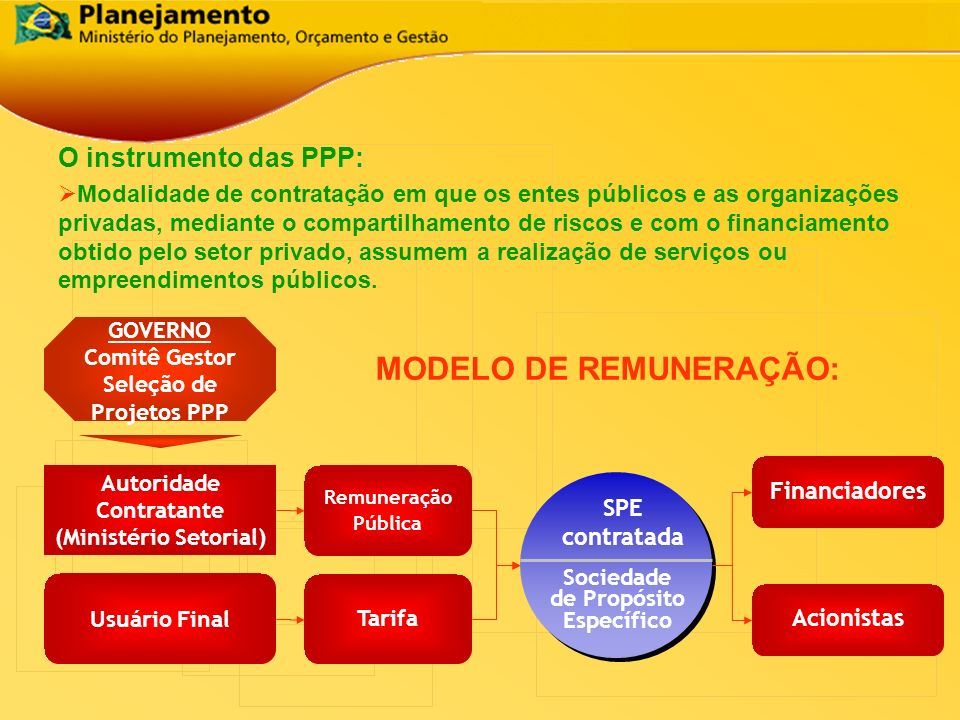 Autoridade Contratante (Ministério Setorial) Sociedade de Propósito Específico SPE contratada Tarifa Remuneração Pública Usuário Final GOVERNO Comitê