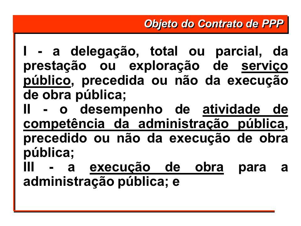 I - a delegação, total ou parcial, da prestação ou exploração de serviço público, precedida ou não da execução de obra pública; II - o desempenho de a