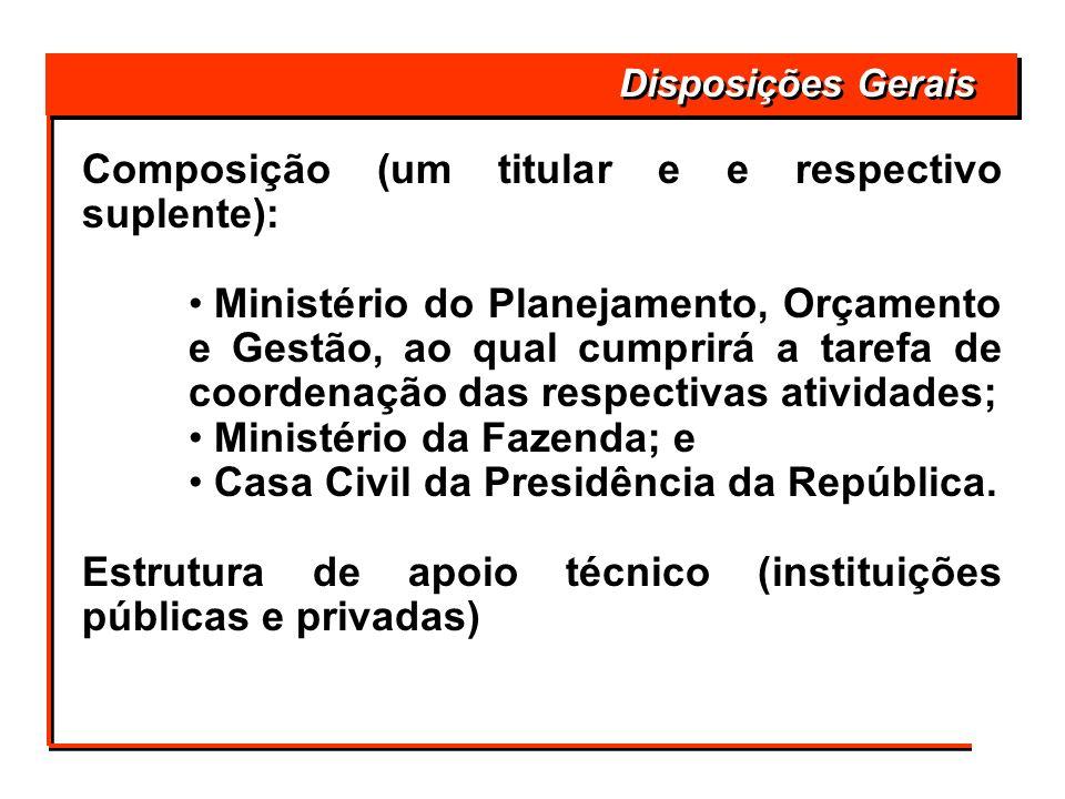 Composição (um titular e e respectivo suplente): Ministério do Planejamento, Orçamento e Gestão, ao qual cumprirá a tarefa de coordenação das respecti