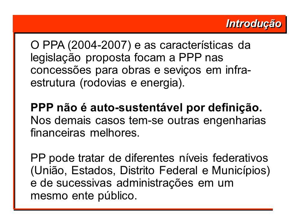 Introdução O PPA (2004-2007) e as características da legislação proposta focam a PPP nas concessões para obras e seviços em infra- estrutura (rodovias