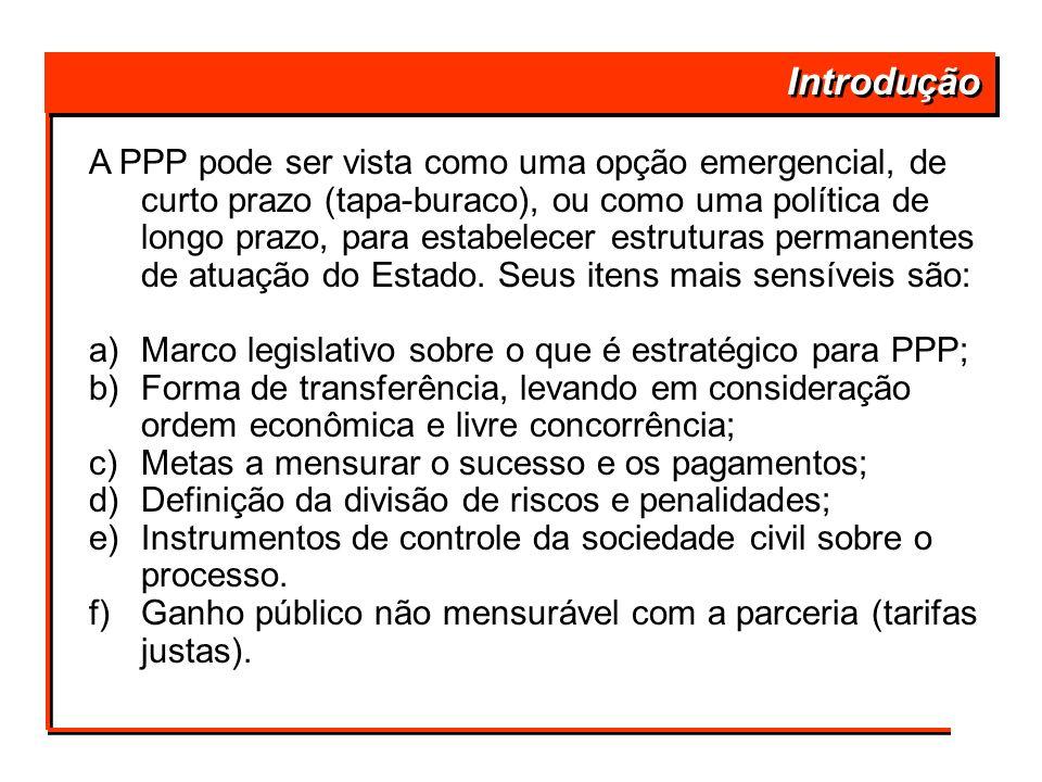 Introdução A PPP pode ser vista como uma opção emergencial, de curto prazo (tapa-buraco), ou como uma política de longo prazo, para estabelecer estrut