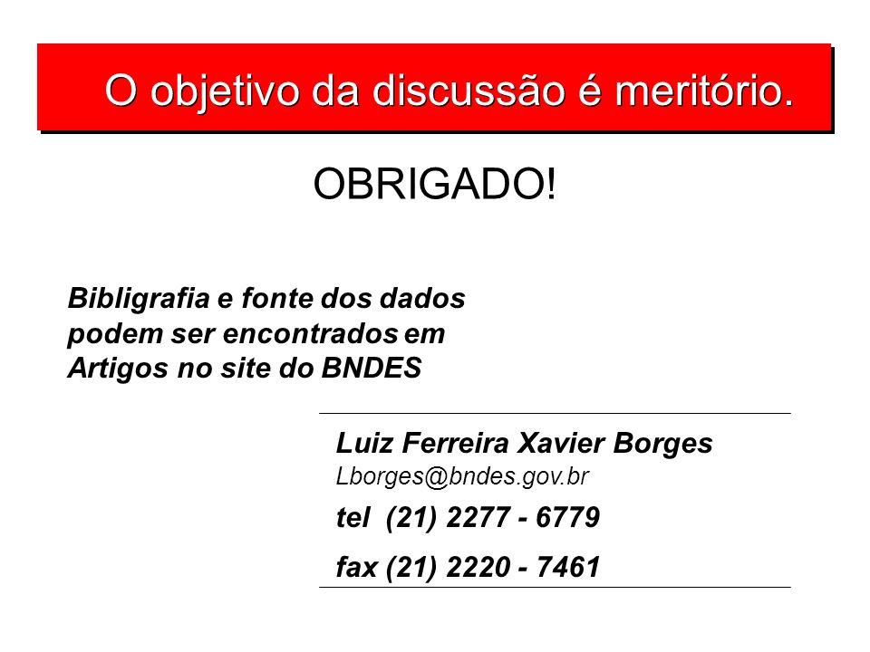 O objetivo da discussão é meritório. Luiz Ferreira Xavier Borges Lborges@bndes.gov.br tel (21) 2277 - 6779 fax (21) 2220 - 7461 OBRIGADO! Bibligrafia