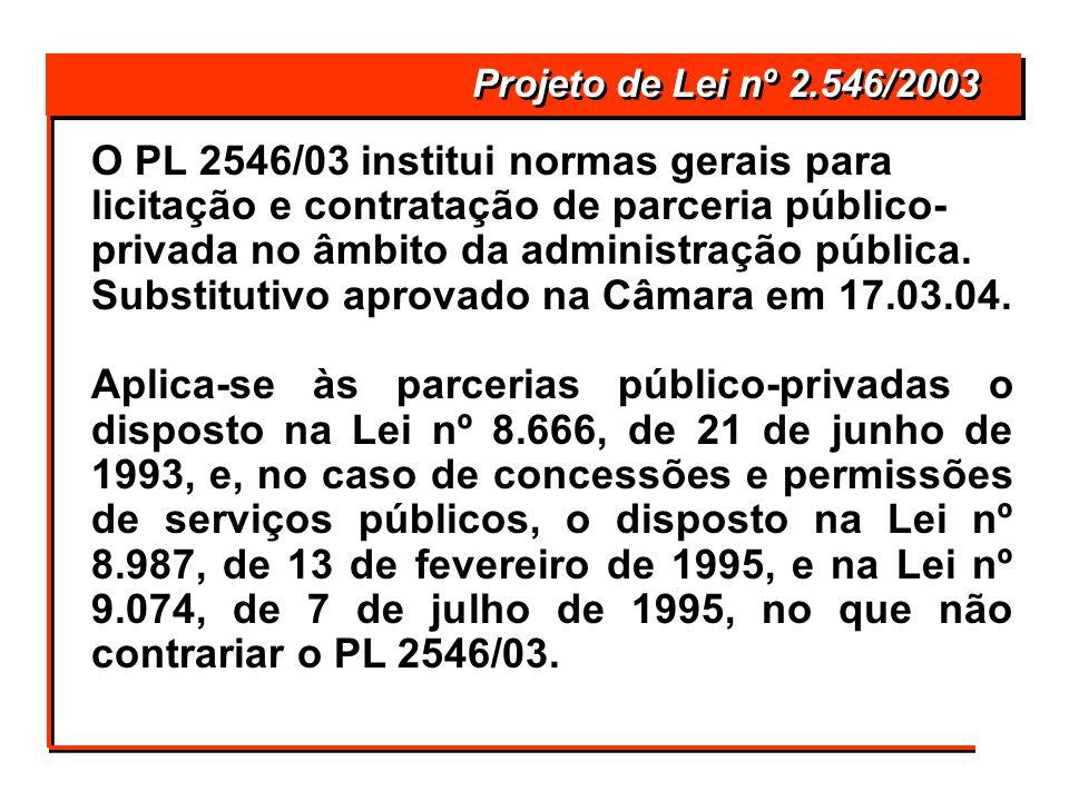 O PL 2546/03 institui normas gerais para licitação e contratação de parceria público- privada no âmbito da administração pública. Substitutivo aprovad