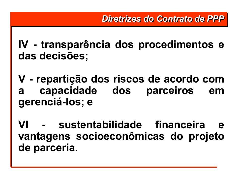 IV - transparência dos procedimentos e das decisões; V - repartição dos riscos de acordo com a capacidade dos parceiros em gerenciá-los; e VI - susten