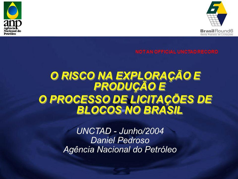 UNCTAD - Junho/2004 Daniel Pedroso Agência Nacional do Petróleo O RISCO NA EXPLORAÇÃO E PRODUÇÃO E O PROCESSO DE LICITAÇÕES DE BLOCOS NO BRASIL O RISC