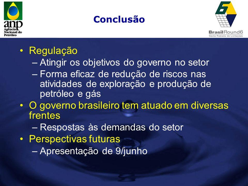 Conclusão Regulação –Atingir os objetivos do governo no setor –Forma eficaz de redução de riscos nas atividades de exploração e produção de petróleo e