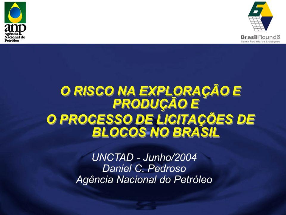 UNCTAD - Junho/2004 Daniel C. Pedroso Agência Nacional do Petróleo O RISCO NA EXPLORAÇÃO E PRODUÇÃO E O PROCESSO DE LICITAÇÕES DE BLOCOS NO BRASIL O R
