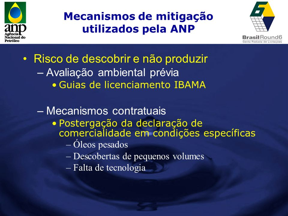 Mecanismos de mitigação utilizados pela ANP Risco de descobrir e não produzir –Avaliação ambiental prévia Guias de licenciamento IBAMA –Mecanismos con