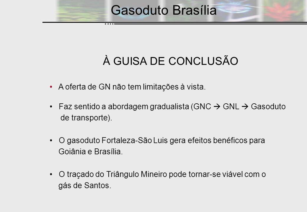 À GUISA DE CONCLUSÃO A oferta de GN não tem limitações à vista. Faz sentido a abordagem gradualista (GNC GNL Gasoduto de transporte). O gasoduto Forta