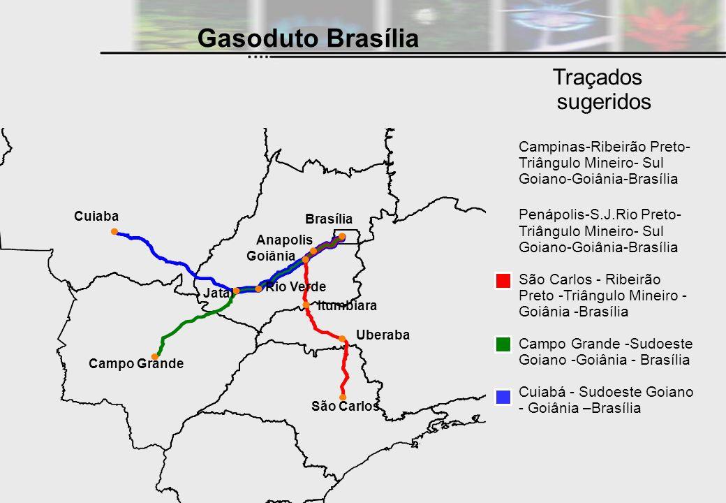 Traçados sugeridos Gasoduto Brasília Campinas-Ribeirão Preto- Triângulo Mineiro- Sul Goiano-Goiânia-Brasília Penápolis-S.J.Rio Preto- Triângulo Mineir