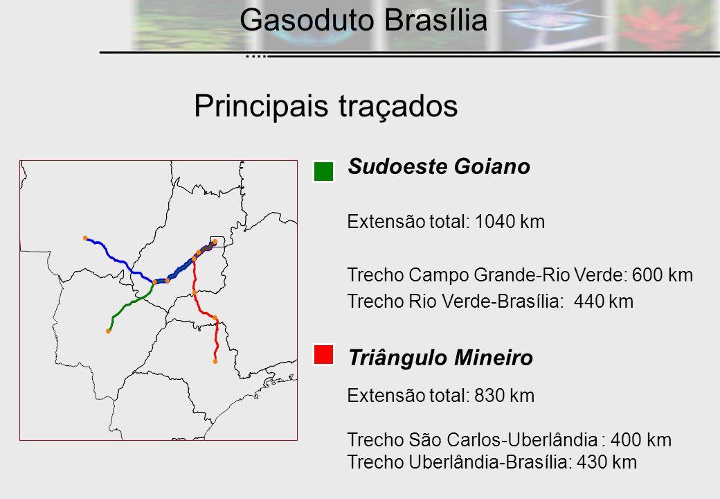 Sudoeste Goiano Extensão total: 1040 km Trecho Campo Grande-Rio Verde: 600 km Trecho Rio Verde-Brasília: 440 km Triângulo Mineiro Extensão total: 830