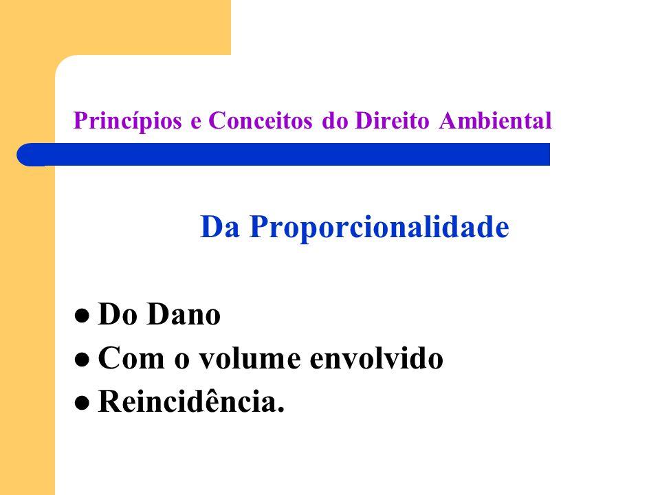 Princípios e Conceitos do Direito Ambiental Da Proporcionalidade Do Dano Com o volume envolvido Reincidência.
