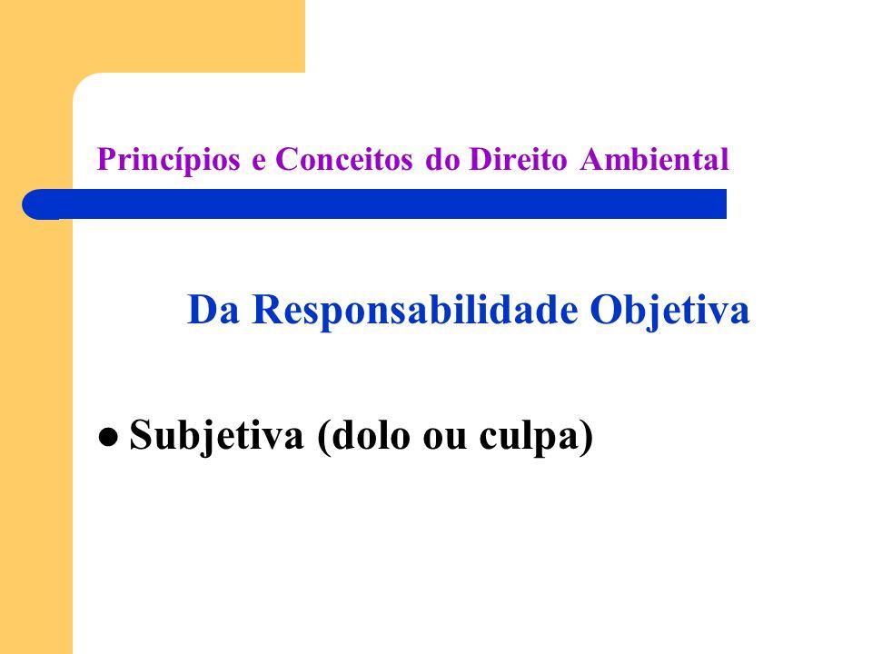 Princípios e Conceitos do Direito Ambiental Da Responsabilidade Objetiva Subjetiva (dolo ou culpa)