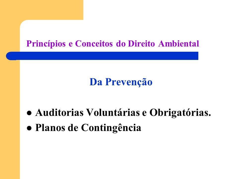 Princípios e Conceitos do Direito Ambiental Da Prevenção Auditorias Voluntárias e Obrigatórias. Planos de Contingência