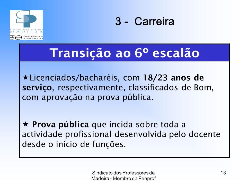 Sindicato dos Professores da Madeira - Membro da Fenprof 13 Transição ao 6º escalão Licenciados/bacharéis, com 18/23 anos de serviço, respectivamente, classificados de Bom, com aprovação na prova pública.