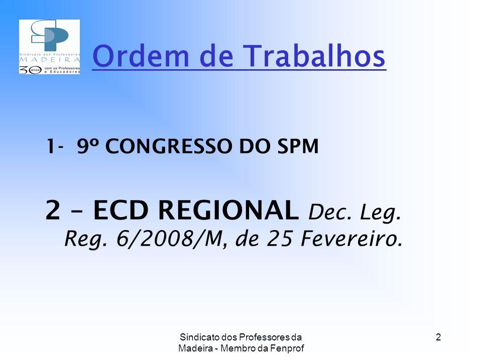 Sindicato dos Professores da Madeira - Membro da Fenprof 2 Ordem de Trabalhos 1- 9º CONGRESSO DO SPM 2 – ECD REGIONAL Dec.